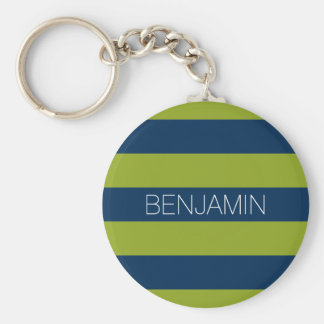 Navy Blue and Lime Green Rugby Stripes Custom Name Basic Round Button Key Ring