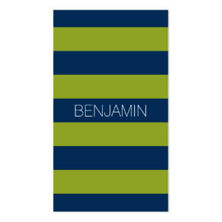 Navy Blue and Lime Green Rugby Stripes Custom Name Business Card Template