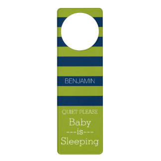 Navy Blue and Lime Green Rugby Stripes Custom Name Door Hangers