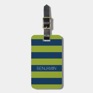 Navy Blue and Lime Green Rugby Stripes Custom Name Luggage Tag