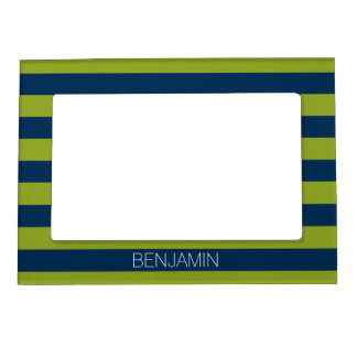 Navy Blue and Lime Green Rugby Stripes Custom Name Magnetic Photo Frames