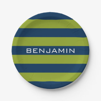 Navy Blue and Lime Green Rugby Stripes Custom Name Paper Plate