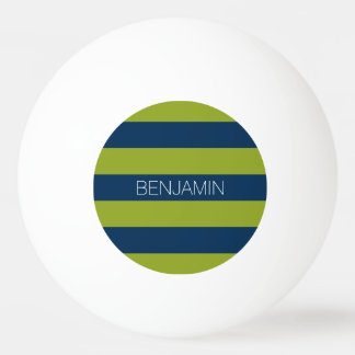 Navy Blue and Lime Green Rugby Stripes Custom Name Ping Pong Ball