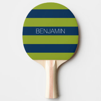 Navy Blue and Lime Green Rugby Stripes Custom Name Ping Pong Paddle