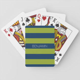 Navy Blue and Lime Green Rugby Stripes Custom Name Poker Deck
