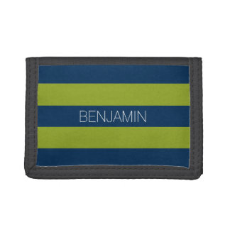 Navy Blue and Lime Green Rugby Stripes Custom Name Trifold Wallet