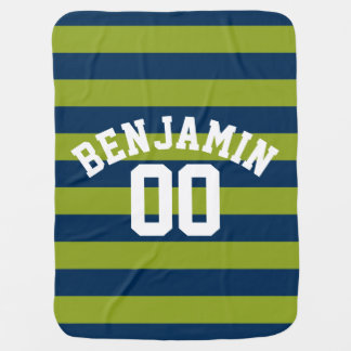Navy Blue and Lime Green Rugby Stripes Name Number Baby Blanket