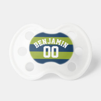Navy Blue and Lime Green Rugby Stripes Name Number Pacifier