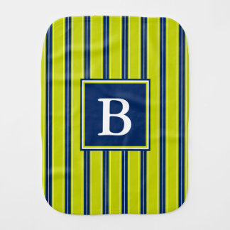 Navy Blue and Lime Green Stripe Monogram Baby Burp Cloth
