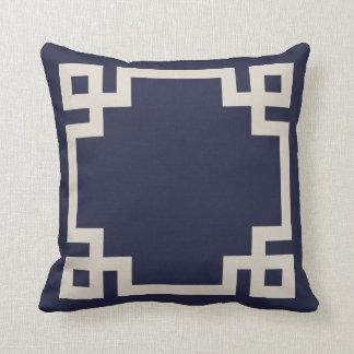 Navy Blue and Linen Beige Greek Key Border Throw Pillow