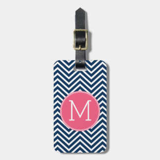 Navy Blue and Magenta Chevrons Custom Monogram Luggage Tag