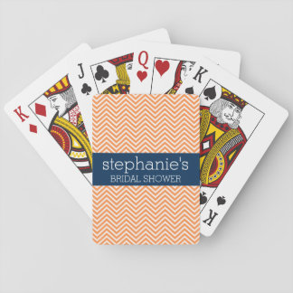 Navy Blue and Orange Chevron Pattern Bridal Shower Playing Cards