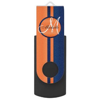 Navy Blue and Orange  Design USB Flash Drive
