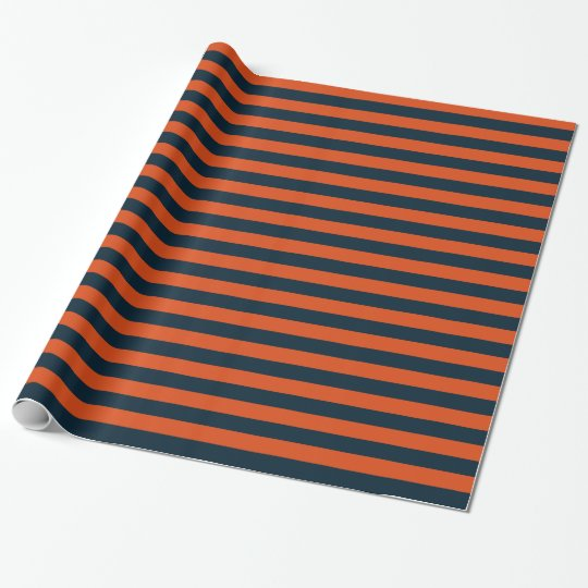 Navy Blue and Orange Horizontal Stripe Wrapping Paper