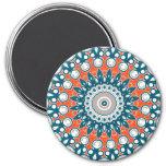 Navy Blue and Orange on White Medallion Art 7.5 Cm Round Magnet