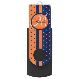 Navy Blue and Orange Polka Dot Design USB Flash Drive