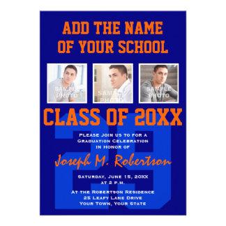 Navy Blue and Orange Team Graduation Sports Event Custom Invites