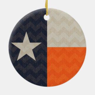 Navy Blue and Orange Texas Flag Fabric Chevron Round Ceramic Decoration