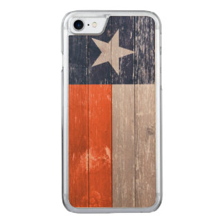 Navy Blue and Orange Texas Flag Painted Old Wood Carved iPhone 8/7 Case