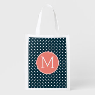 Navy Blue and Peach Polka Dots Custom Monogram Reusable Grocery Bag