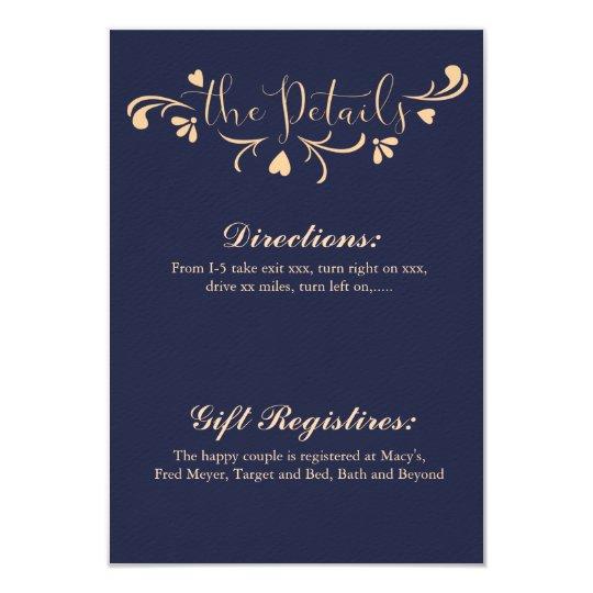 Navy Blue and Peach Wedding Details Card