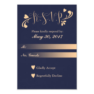 Navy Blue and Peach Wedding RSVP Card