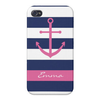 Navy Blue and Pink Anchor Monogram Case Cover For iPhone 4
