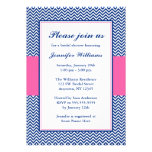 Navy Blue and Pink Chevron Bridal Shower Personalised Announcement
