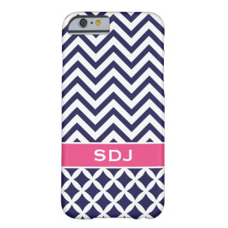 Navy Blue and Pink Chevron Custom Monogram Barely There iPhone 6 Case