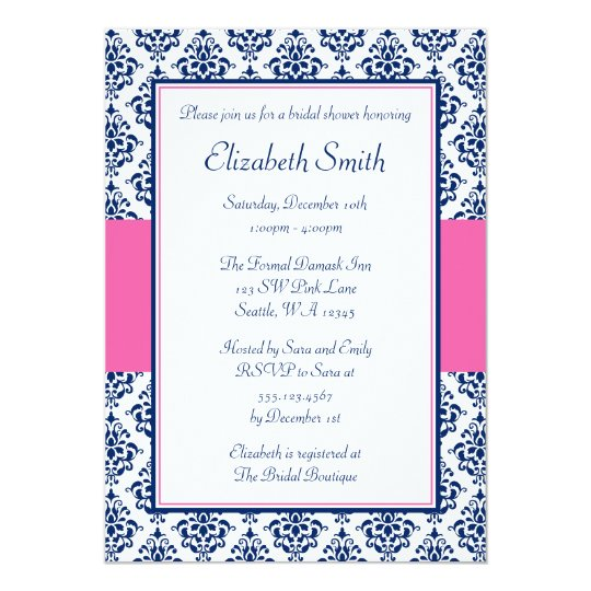 Navy Blue and Pink Damask Bridal Shower Card