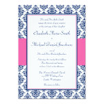 Navy Blue and Pink Damask Wedding Invitations Personalized Invite