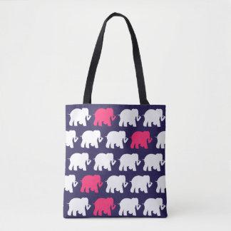 Navy blue and pink elephants design bag tote bag