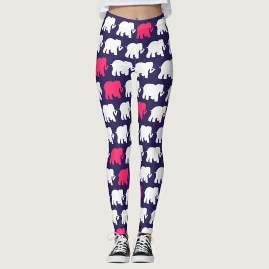 Navy blue and pink elephants design leggings