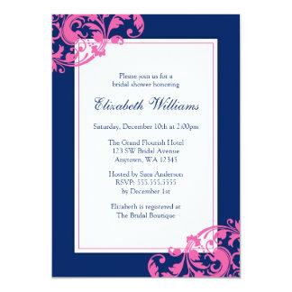 Navy Blue and Pink Flourish Swirls Bridal Shower 13 Cm X 18 Cm Invitation Card
