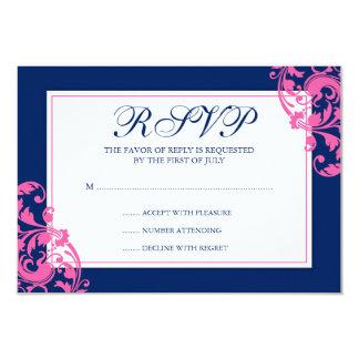 Navy Blue and Pink Flourish Swirls Response Card