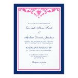 Navy Blue and Pink Flourish Wedding Invitations