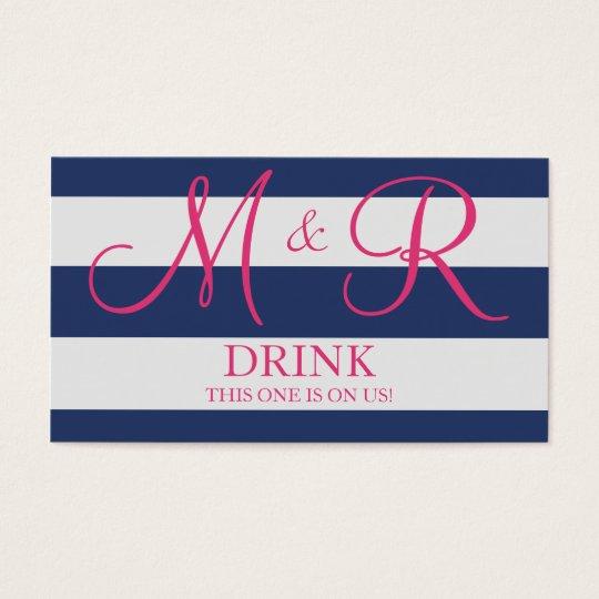Navy Blue and Pink Monogram Wedding Drink Ticket