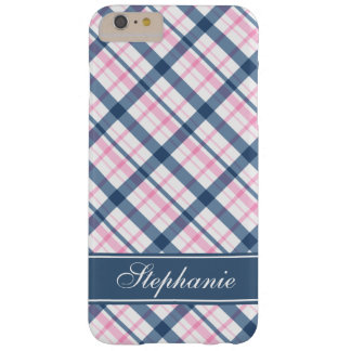 Navy Blue and Pink Plaid Pattern Barely There iPhone 6 Plus Case