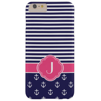 Navy Blue and Pink Preppy Nautical Custom Monogram Barely There iPhone 6 Plus Case