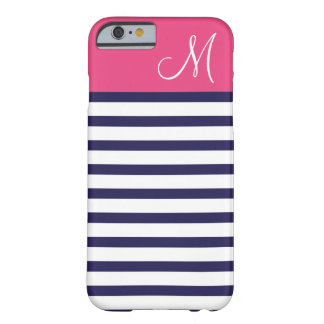Navy Blue and Pink Preppy Stripes Custom Monogram Barely There iPhone 6 Case