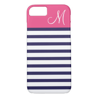 Navy Blue and Pink Preppy Stripes Custom Monogram iPhone 7 Case