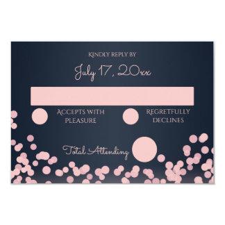Navy Blue and Pink Sparkle Wedding Response 9 Cm X 13 Cm Invitation Card