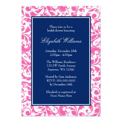 Navy Blue and Pink Swirls Damask Bridal Shower Custom Invite