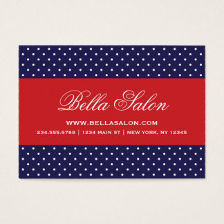 Navy Blue and Red Cute Modern Polka Dots Business Card