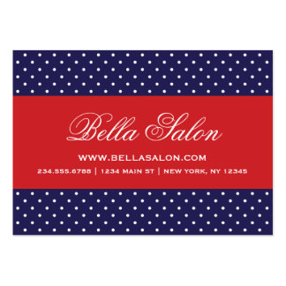 Navy Blue and Red Cute Modern Polka Dots Pack Of Chubby Business Cards