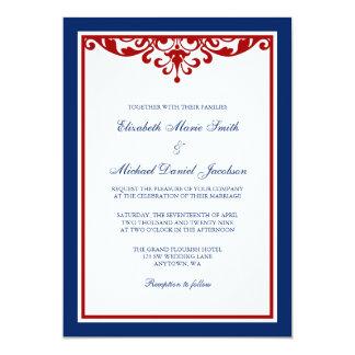 Navy Blue and Red Flourish Wedding Card