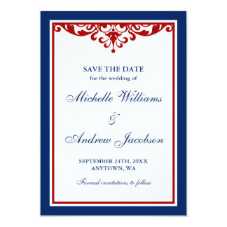 Navy Blue and Red Flourish Wedding Save the Date Card