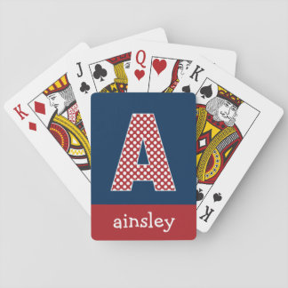 Navy Blue and Red Polka Dots Custom Monogram Playing Cards