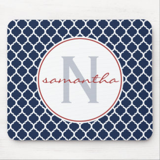 Navy Blue and Red Quatrefoil Monogram Mouse Mat