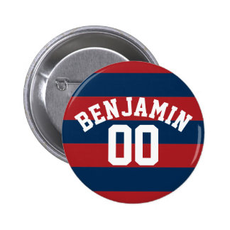 Navy Blue and Red Rugby Stripes Name Number Buttons